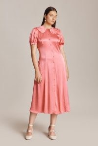 GHOST OLIVIA DRESS in Pink ~ vintage style short sleeve satin dresses ~ oversized scalloped collar