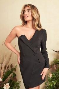 lavish alice one shoulder asymmetric blazer dress in black – glamorous tuxedo style dresses – evening jacket inspired dresses – party glamour – lbd
