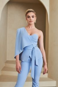 Lavish Alice one shoulder cape jacket in cornflower blue – contemporary asymmetric jackets ~ luxe style going out fashion