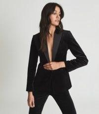 Reiss OPAL VELVET BLAZER BLACK – womens luxe style evening blazers – women's occasion jackets