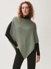 Jigsaw Open Poncho Wool Cashmere in Green   asymmetric hem ponchos   knitted outerwear