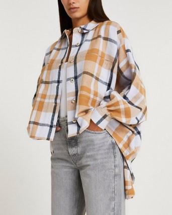 RIVER ISLAND Orange check oversized batwing shirt / womens high low dip hem checked shirts