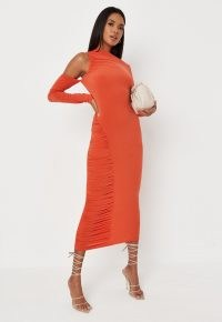 Missguided orange cold shoulder cut out ruched midaxi dress
