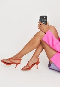MISSGUIDED orange faux suede asymmetric mid heel sandals – strappy slingback mid heels
