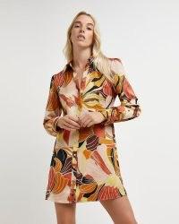 River Island Orange floral mini shirt dress   womens 70s retro fashion   1970s inspired prints   womens vintage style clothing