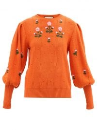GUCCI Floral-embroidered wool-blend sweater in orange