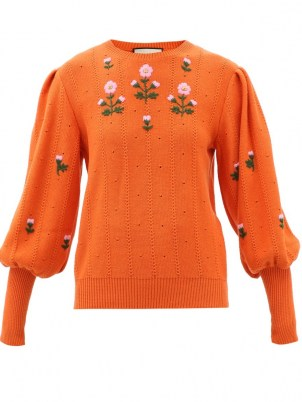 GUCCI Floral-embroidered wool-blend sweater in orange - flipped