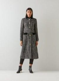 L.K. BENNETT OSBORNE BLACK AND WHITE TWEED COAT ~ womens chic belted velvet trimmed winter coats
