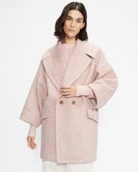 TED BAKER JJULIET Oversized cocoon coat Light Pink ~ womens herringbone weave coats