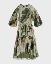 TED BAKER JULIYE Oversized palm print belted midaxi dress / floaty leaf print tiered hem dresses
