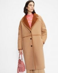 TED BAKER JOANAHH Oversized wool cocoon coat ~ women's longline relaxed fit camel brown coats ~ womens autumn and winter outerwear