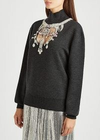 PACO RABANNE Grey crystal-embellished wool-blend jumper / necklace style high neck jumpers / glamorous knitwear / front cut out jumpers