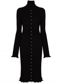 Paco Rabanne high-neck knitted midi dress in black   LBD   high neck ruffle trim ribbed knit dresses   chic knitwear