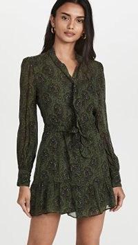 PAIGE Vittoria Army Green Multi Dress ~ feminine ruffle hem dresses