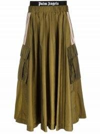 Palm Angels logo-waistband cargo skirt in military green | gathered waist side pocket full skirts