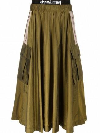 Palm Angels logo-waistband cargo skirt in military green | gathered waist side pocket full skirts - flipped