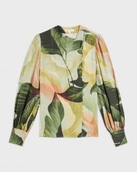 TED BAKER EMIILEE Palm print statement sleeve blouse / leaf print asymmetric front button blouses