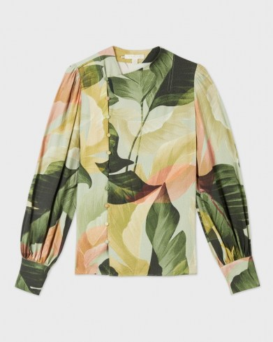 TED BAKER EMIILEE Palm print statement sleeve blouse / leaf print asymmetric front button blouses - flipped