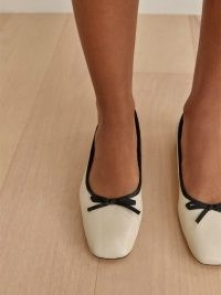 REFORMATION Paola Ballet Flat in Almond Black / square toe ballerina flats / classic front bow ballerinas