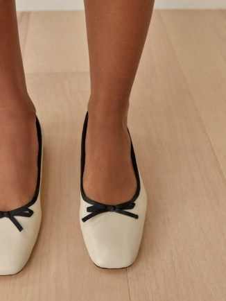 REFORMATION Paola Ballet Flat in Almond Black / square toe ballerina flats / classic front bow ballerinas - flipped