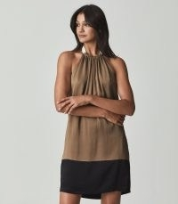 REISS PASCAL HALTERNECK SATIN MINI DRESS CARAMEL ~ brown and black color block evening dresses ~ glamorous halter neck occasion fashion ~ party glamour