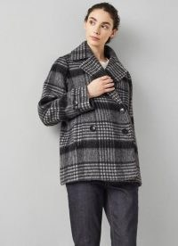 L.K. BENNETT PELUSO GREY CHECK WOOL-BLEND PEA COAT / womens double breasted wide collar coats / women's checked autumn and winter outerwear