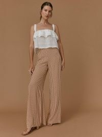 REFORMATION Petites Sorrenti Pant in Chestnut Check / womens brown checked wide leg trousers / women's check print lightweight drapey crepe fabric pants / petite fashion