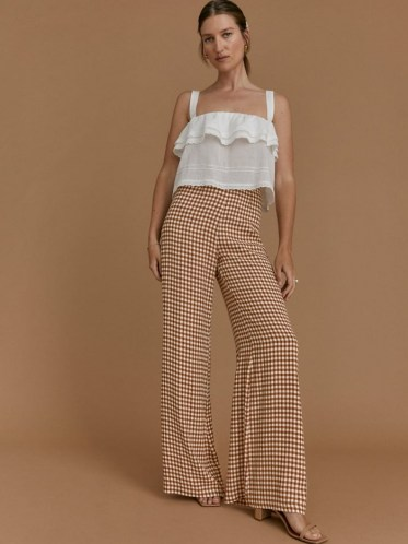 REFORMATION Petites Sorrenti Pant in Chestnut Check / womens brown checked wide leg trousers / women's check print lightweight drapey crepe fabric pants / petite fashion - flipped