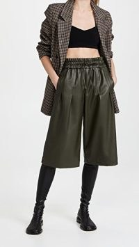 3.1 Phillip Lim Vegan Leather Culottes in Dark Olive ~ womens green luxe style cropped trousers