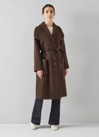 L.K. BENNETT PHOEBE BROWN WOOL-BLEND SHAWL COLLAR COAT ~ chic wide collar coats ~ womens autumn and winter classic style outerwear