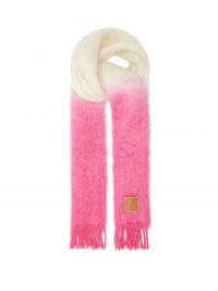 LOEWE Anagram-patch colour-block mohair-blend scarf in pink ~ womens fluffy luxe scarves ~ women's winter accessories