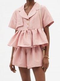 KIKA VARGAS Angela peplum-hem silk-blend taffeta top | pink romantic ruffle hem tops