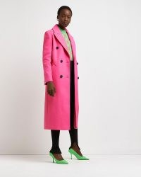 RIVER ISLAND Pink belted double breasted coat – womens bright longline coats