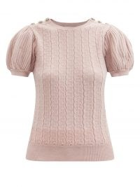 ERDEM Belva embellished cable-knit short-sleeved sweater | luxe pink puff sleeve sweaters | womens designer knitwear