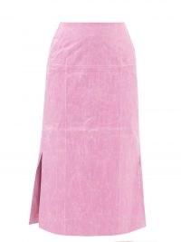 REJINA PYO Coated high-rise pink cotton-blend pencil skirt ~ candy coloured side slit skirts