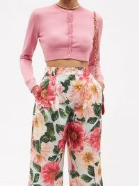 DOLCE & GABBANA Cropped pink silk cardigan ~ designer crop hem cardigans