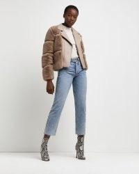 River Island Pink faux fur biker jacket – casual winter jackets