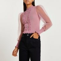 RIVER ISLAND Pink frill detail puff sleeve top ~ front ruffle high neck tops ~ sheer volume sleeve jumper ~ womens on-trend knitwear