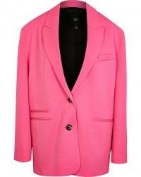 RIVER ISLAND Pink oversized blazer – womens bright fashion blazers