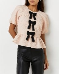 River Island Pink peplum top | romance inspired fashion | romantic style puff sleeve tops
