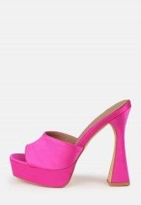MISSGUIDED pink platform high heel satin mule sandals – hot pink retro platforms – vintage style heels