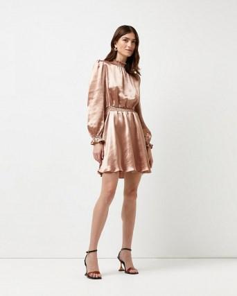 RIVER ISLAND Pink satin mini dress ~ puff sleeve shirred waist dresses - flipped