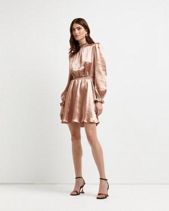 RIVER ISLAND Pink satin mini dress ~ puff sleeve shirred waist dresses
