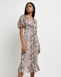 River Island Pink snake print midi dress | puff sleeve dresses | glamorous reptile / animal print fashion | tiered hem