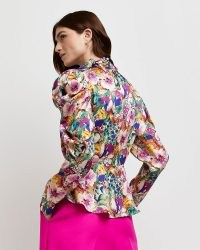River Island Pink tie neck peplum blouse | long puff sleeved blouses | womens bold floral print tops