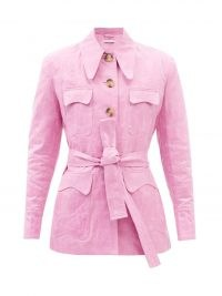 REJINA PYO Tie-waist coated-canvas jacket in pink ~ womens candy coloured jackets