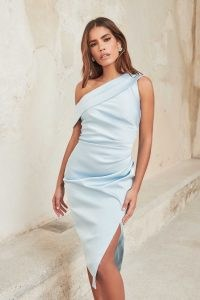 lavish alice pleated one shoulder satin midi dress in baby blue – luxe style asymmetric evening dresses