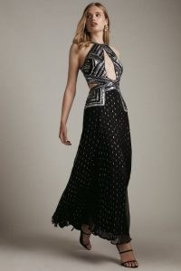 KAREN MILLEN Premium Beaded & Embellished Drama Maxi Dress – glamorous luxe occasion dresses – cut out evening fashion – sequinned event clothing – front cutout details