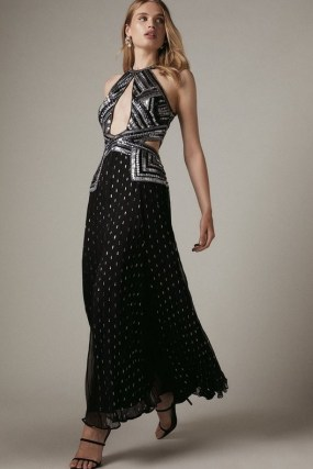 KAREN MILLEN Premium Beaded & Embellished Drama Maxi Dress – glamorous luxe occasion dresses – cut out evening fashion – sequinned event clothing – front cutout details - flipped