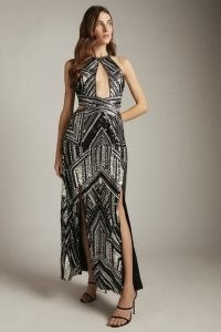 KAREN MILLEN Premium Beaded and Embellished Maxi Split Dress – glamorous cutout evening dresses – occasion glamour – cut out event wear